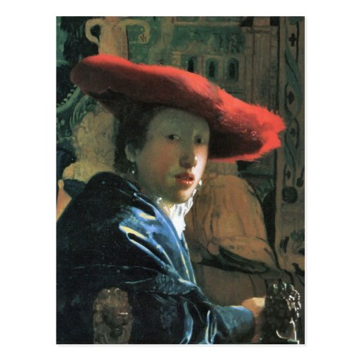Girl with red hat by Johannes Vermeer Postcards