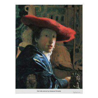 Girl with red hat by Johannes Vermeer Poster