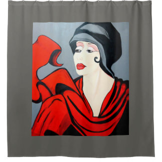 GIRL WITH  RED SCARF SHOWER CURTAIN