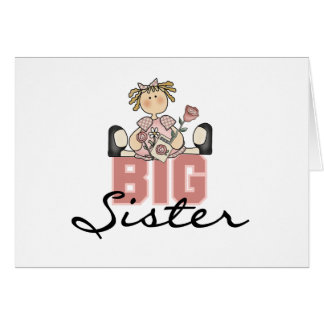 Girl with Roses Big Sister Card