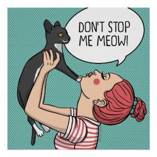 Girl with Rude Cat Illustration Poster