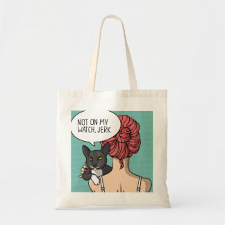 Girl with Rude Cat Illustration Tote
