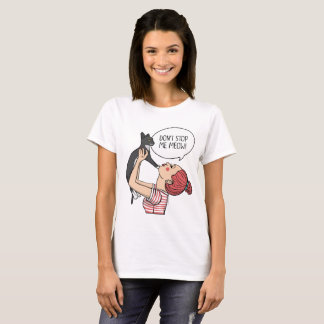 Girl with Rude Cat Illustration White T-shirt
