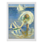 Girl With Sailboat by Edmund Charles Tarbell Posters