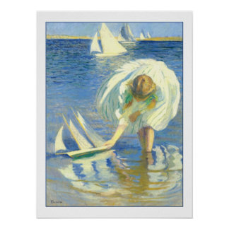 Girl With Sailboat by Edmund Charles Tarbell Poster