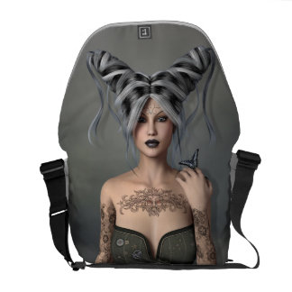 Girl with silver and black hair,Butterfly,Tattoos Courier Bags