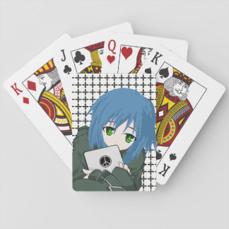 Girl with Tablet Playing Cards