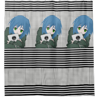 Girl with Tablet Shower Curtain