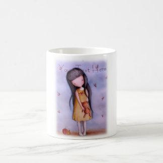 Girl with Teddy Bear Customizable Coffee Mug