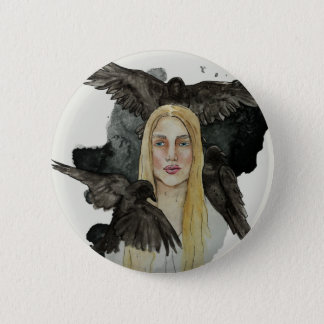 Girl with the crows 6 cm round badge