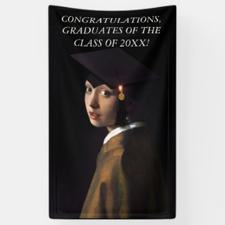 Girl with the Graduation Hat Banner