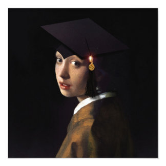 Girl with the Graduation Hat (Pearl Earring) 13 Cm X 13 Cm Square Invitation Card