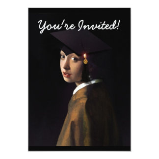 Girl with the Graduation Hat (Pearl Earring) 13 Cm X 18 Cm Invitation Card
