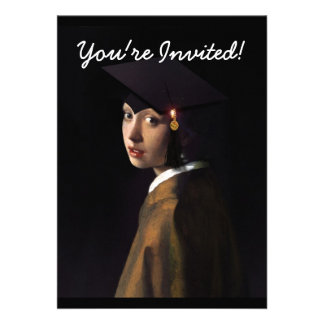 Girl with the Graduation Hat Pearl Earring Personalized Invites