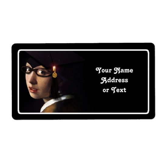 Girl with the Graduation Hat (Pearl Earring) Shipping Label