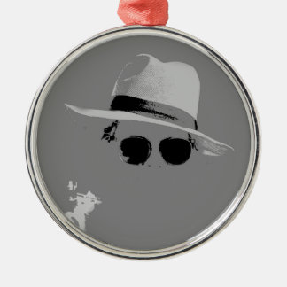 GIrl With The Hat & Shades Silver-Colored Round Decoration