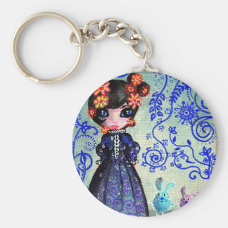 girl with the lapinous basic round button key ring