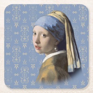 Girl with the Pearl Earring Square Paper Coaster
