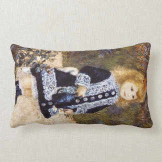Girl with the Watering Can by Pierre Renoir Lumbar Pillow