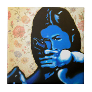 """Girl with Two Guns"" by Axel Bottenberg Ceramic Tile"