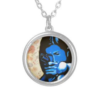 """Girl with Two Guns"" by Axel Bottenberg Silver Plated Necklace"
