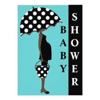 Girl with Umbrella Baby Shower Invitations
