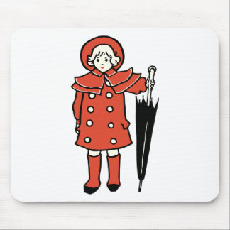 Girl With Umbrella Mouse Pad