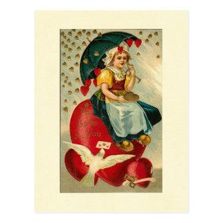 Girl With Valentine Heart Umbrella Postcard