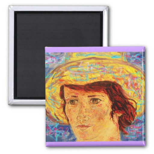 girl with van gogh hat magnets
