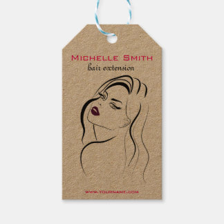 Girl with wavy hair Hairstyling branding icon Gift Tags
