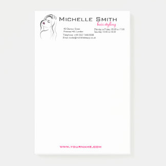 Girl with wavy hair Hairstyling branding icon Post-it Notes