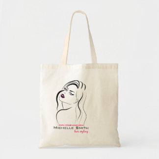 Girl with wavy hair Hairstyling branding icon Tote Bag