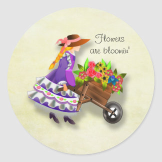 Girl With Wheelbarrow of Colorful Flowers Sticker
