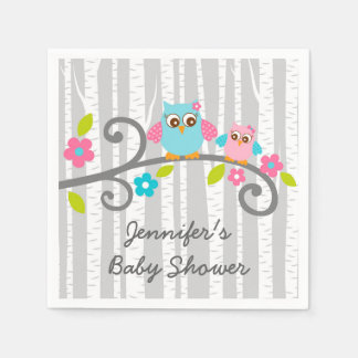 Girl Woodland Owl Personalized Napkins Disposable Serviette