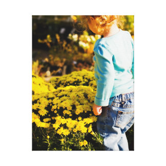 Girl Yellow Flowers Wrapped Canvas Canvas Prints
