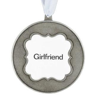 Girlfriend ai scalloped pewter ornament