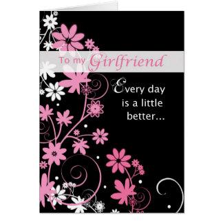 Girlfriend Birthday Card, Pink, Black, Swirls Card
