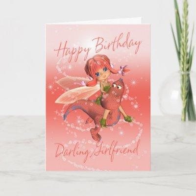Girlfriend Cute Birthday card, pink dragon with fa - Za