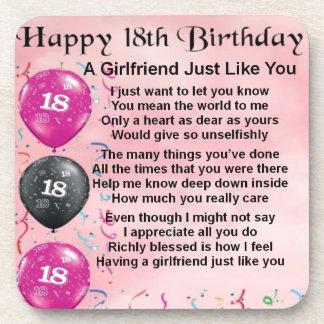 Girlfriend Poem - 18th Birthday Drink Coaster