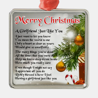 Girlfriend Poem - Christmas Design Silver-Colored Square Decoration