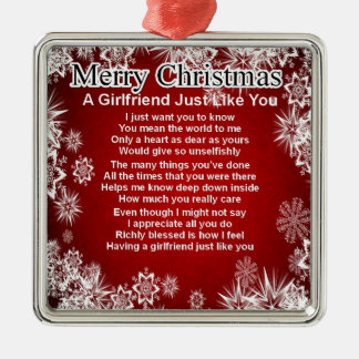 Girlfriend Poem  - Christmas Design Silver-Colored Square Decoration