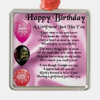 Girlfriend poem  -  Happy Birthday Silver-Colored Square Decoration