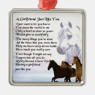 Girlfriend poem - Horses Design Silver-Colored Square Decoration