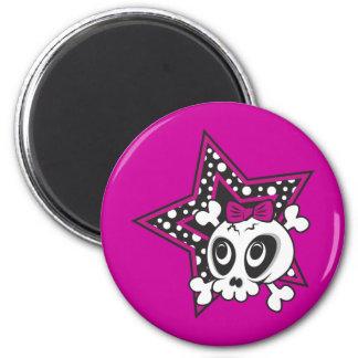 Girlie Emo Skull 6 Cm Round Magnet