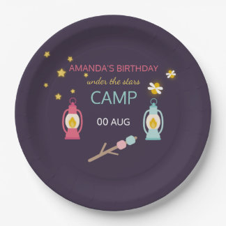 Girlie Glamping Birthday Party personalised 9 Inch Paper Plate