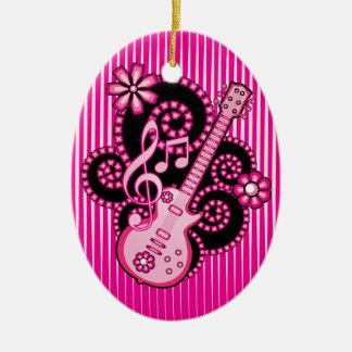 Girlie Guitar Ceramic Ornament