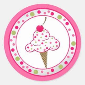 Girlie Ice Cream Cone Birthday Party Sticker