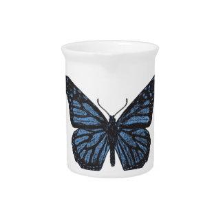 Girlie Vintage Monarch Butterfly Blue Pitcher