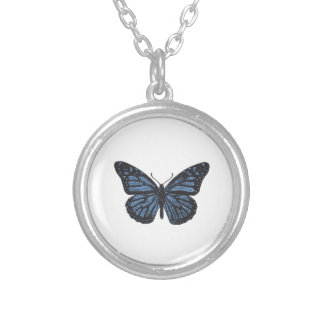Girlie Vintage Monarch Butterfly Blue Silver Plated Necklace
