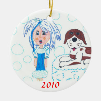 GirlInBlue-StBernard, 2010 Ceramic Ornament